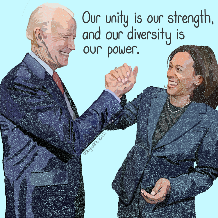 Portrait of Joe Biden and Kamala Harris high fiving in celebration